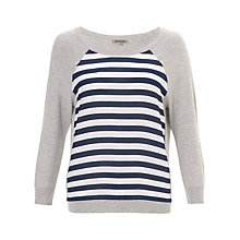 Buy Jigsaw Silk Striped Front Sweater, Mel Grey Online at johnlewis.com