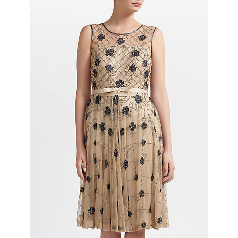 Buy Gina Bacconi Beaded Dress, Champagne Online at johnlewis.com