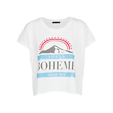 Buy Mango Printed Cropped T-Shirt, White Online at johnlewis.com