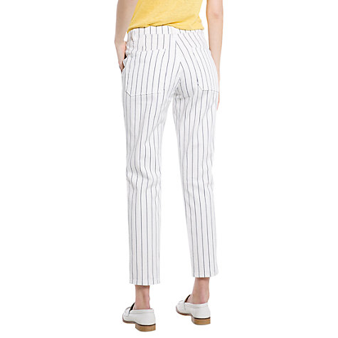 Buy Mango Chalk Stripe Trousers, White Online at johnlewis.com