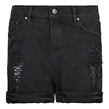Buy Mango Ripped Denim Shorts, Black Online at johnlewis.com