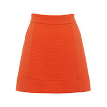 Buy Warehouse Quilted Mini A-Line Skirt, Orange Online at johnlewis.com