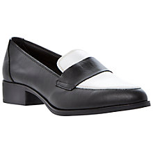 Buy Dune Lawrence Point Toe Leather Loafers, Black/White Online at johnlewis.com