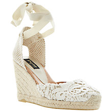 Buy Dune Black Espadrille Wedges, Cream Online at johnlewis.com