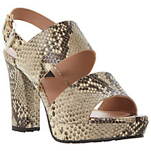 Buy Dune Black Lanni Neutral Reptile Print Leather Block Heel Sandals, Neutral Online at johnlewis.com