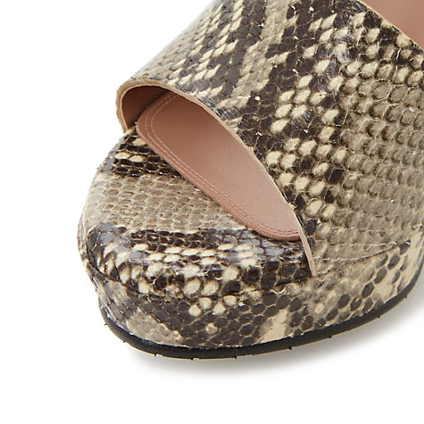 Buy Dune Black Lanni Neutral Reptile Print Block Heel Sandals, Neutral Online at johnlewis.com