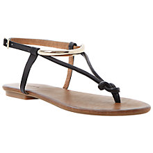 Buy Dune Jasyz Leather Flat Sandals, Black Online at johnlewis.com