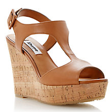 Buy Dune Goaly Leather Cork Wedge Platform Sandals, Tan Online at johnlewis.com