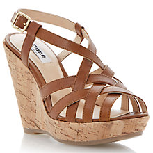 Buy Dune Grappy Leather Strap Wedge Heel Sandals, Tan Online at johnlewis.com