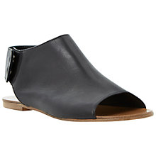 Buy Dune High Vamp Leather Flat Sandals, Black Online at johnlewis.com