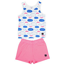 Buy Polarn O. Pyret Girls' Cloud Print Pyjamas, Pink/Blue Online at johnlewis.com