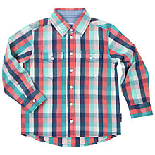Buy Polarn O. Pyret Baby Double Pocket Check Shirt, Blue/Red Online at johnlewis.com