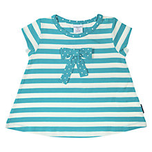Buy Polarn O. Pyret Baby Stripe Polka Dot Bow T-Shirt, Teal/Cream Online at johnlewis.com