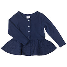 Buy Polarn O. Pyret Baby Broderie Peplum Cardigan, Navy Online at johnlewis.com