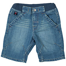 Buy Polarn O. Pyret Baby Ribbed Waistband Denim Shorts, Blue Online at johnlewis.com