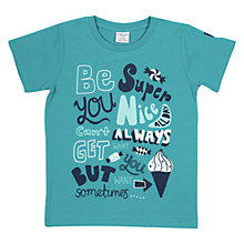 Buy Polarn O. Pyret Boys' 'Be Super Nice' Print T-Shirt, Teal Online at johnlewis.com