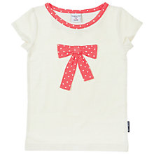 Buy Polarn O. Pyret Girls' Polka Dot Bow T-Shirt, Cream Online at johnlewis.com