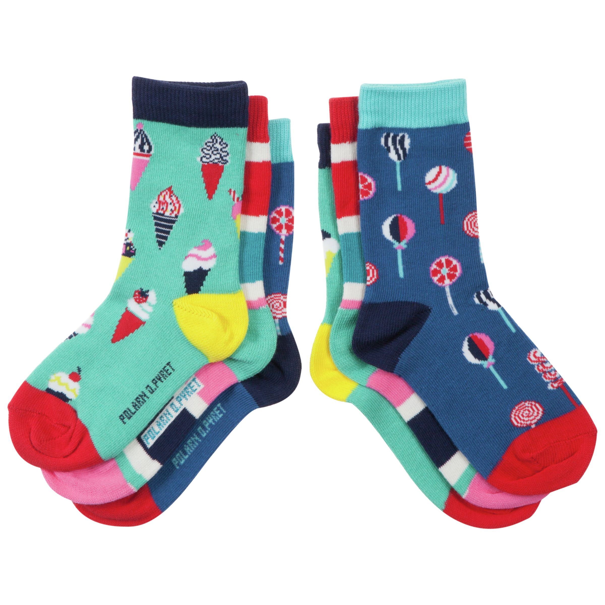 Polarn O. Pyret Candy Print Socks, Pack of 3, Multi