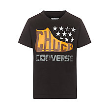 Buy Converse Boys' Small Stars T-Shirt, Black Online at johnlewis.com