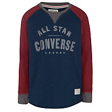 Buy Converse Boy's Raglan Long Sleeved Top, Navy Online at johnlewis.com