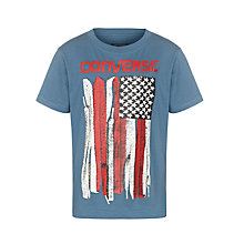 Buy Converse Boys' US Flag Shoelace T-Shirt, Blue/Multi Online at johnlewis.com
