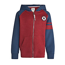 Buy Converse Boys' Contrast Sleeve Zip-Through Hoodie, Burgundy/Navy Online at johnlewis.com