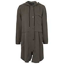 Buy French Connection Santa Fe Drape Parka Coat, Green Online at johnlewis.com