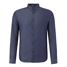Buy John Lewis Long Sleeve Club Collar Melange Shirt, Blue Online at johnlewis.com