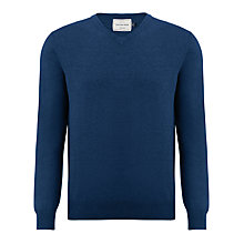 Buy John Lewis Cotton Rich V-Neck Jumper, Mid Blue Online at johnlewis.com