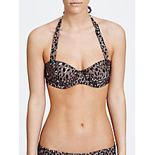 Buy John Lewis Leopard Print Halterneck Bikini Top, Animal Online at johnlewis.com