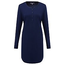 Buy John Lewis Long Sleeve Nightdress, Navy Online at johnlewis.com