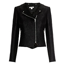Buy Whistles Tess Rafia Tweed Jacket, Black Online at johnlewis.com