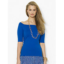 Buy Lauren Ralph Lauren Square-Neck Top, Bright Blue Online at johnlewis.com