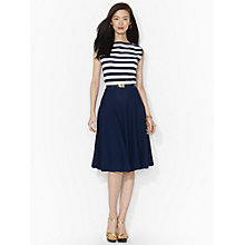 Buy Lauren Ralph Lauren Belted Cotton Boatneck Dress, Navy/White Online at johnlewis.com