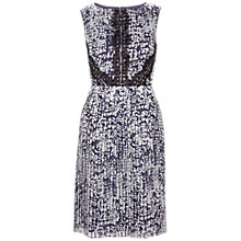 Buy Adrianna Papell Pleated Burnout Dress, Navy Silver Online at johnlewis.com