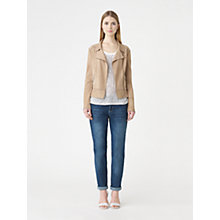 Buy Jigsaw Bonded Suede Jersey Jacket, Stone Online at johnlewis.com