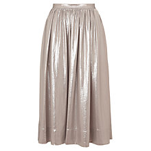 Buy Whistles Daisy Foil Skirt, Silver Online at johnlewis.com