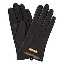 Buy Ted Baker Metal Bow Leather Gloves, Black Online at johnlewis.com