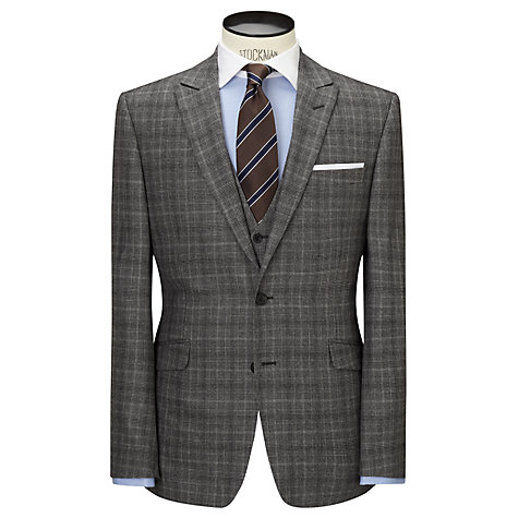 Buy John Lewis Milled Glen Check Tailored Suit Jacket, Grey Online at johnlewis.com