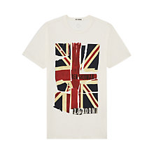 Buy Ben Sherman Deconstructed Union Jack Crew Neck T-Shirt, White Online at johnlewis.com
