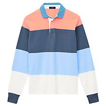 Buy Gant Multi Block Rugby Shirt, Coral/Blue Online at johnlewis.com