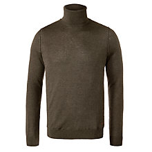 Buy BOSS Orange Amato Roll Neck Jumper, Green Online at johnlewis.com