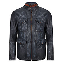 Buy BOSS Orange Joctor Leather Field Jacket, Navy Online at johnlewis.com