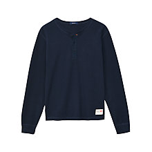 Buy Gant Pique Henley Long Sleeve Top, Dark Blue Online at johnlewis.com