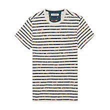 Buy Ben Sherman Foliage Stripe T-Shirt, White/Green Online at johnlewis.com