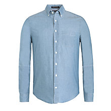 Buy Gant Headline Chambray Long Sleeve Shirt, Jeans Blue Melange Online at johnlewis.com