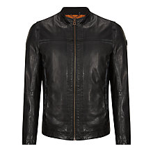 Buy BOSS Orange Leather Biker Jacket, Black Online at johnlewis.com