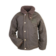 Buy Barbour Boys' Hurricane Waxed Jacket, Olive Online at johnlewis.com