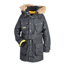 Buy Barbour Boys' International Waxed Parka Coat, Grey Online at johnlewis.com