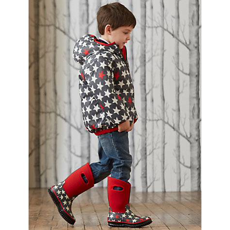 Buy Hatley Star Print Raincoat, Charcoal/Red Online at johnlewis.com